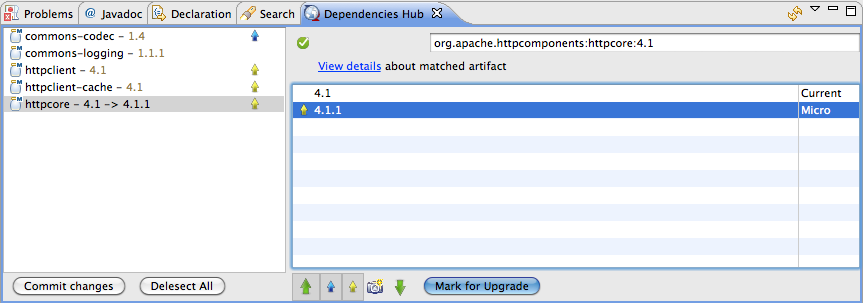 Screen shot of component versions display in Development Insight for Eclipse