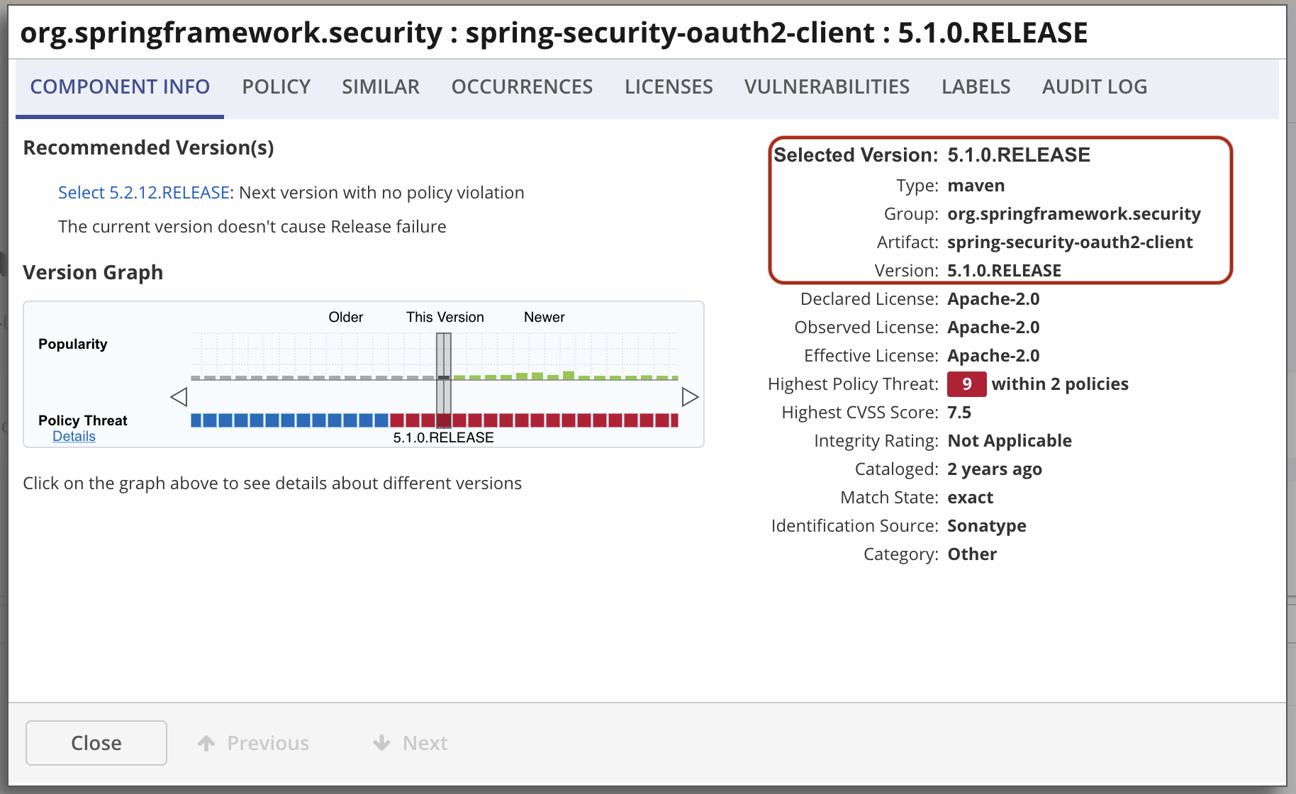 spring-security-oauth2-client version 5.1.0.RELEASE being flagged as vulnerable