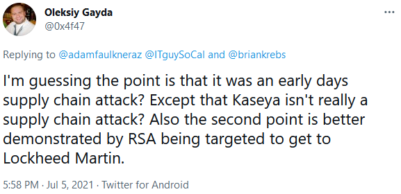 Twitter user Oleksy references example of a downstream target
