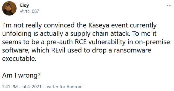 Twitter user Eloy asks if it's a pre-auth RCE vulnerability