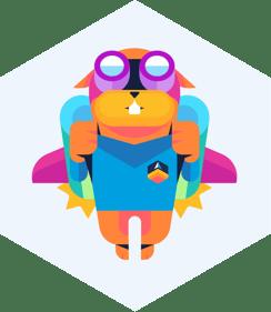Sonatype Lift Logo - Cartoon Squirrel with Rocket Pack