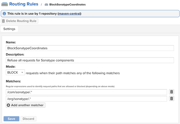 Nexus Repository Routing Rules to Protect Against Namespace Confusion