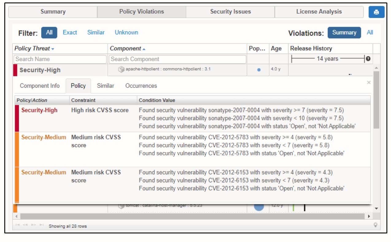 Nexus Vulnerability Scanner Policy Threat Details