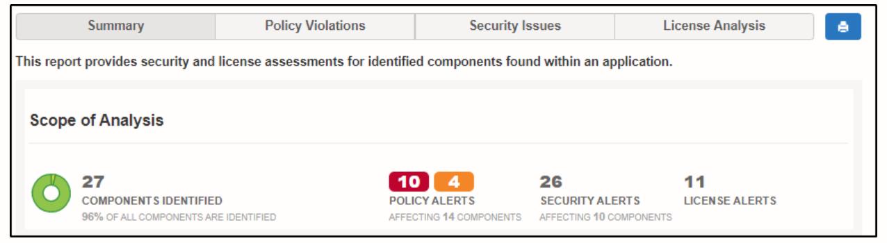 Nexus Vulnerability Scanner Summary