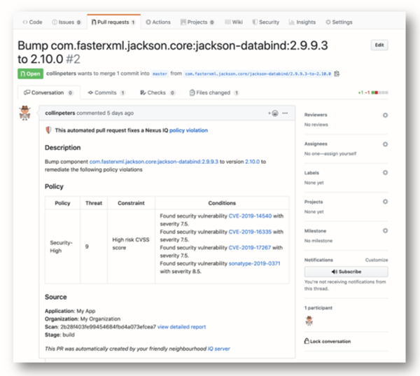 Nexus Automated GitHub Pull Request