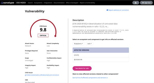 OSS Index Vulnerability Description