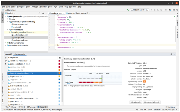 Screenshot showing IntelliJ IDEA scanning a project and finding issues on Node modules