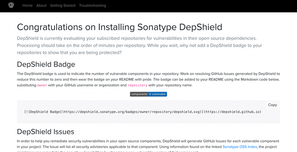 Sonatype DepShield in your GitHub Repository