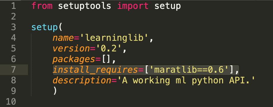 """""""maratlib"""" dependency in the """"learninglib"""" package"""